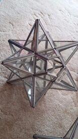 Glass star lampshade, retro wooden owl clock collect hatherley cheltenham