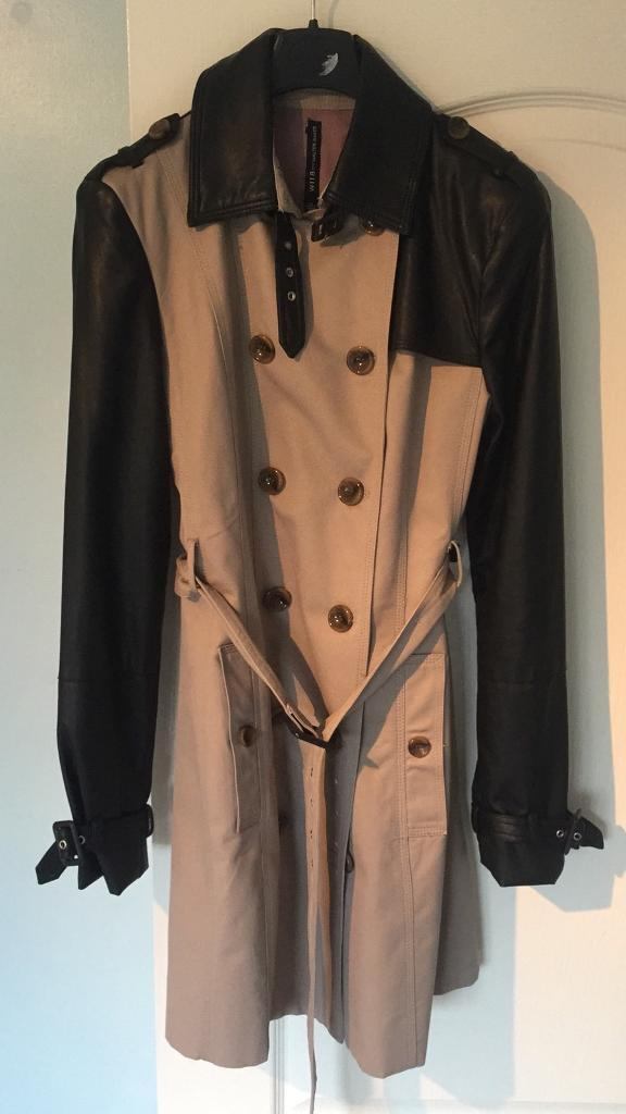 Lady's half faux leather trench coat size 8-10 brand new