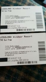 2xLegoland tickets for Sunday 16/7/17