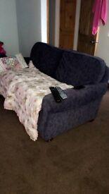 Blue sofas.