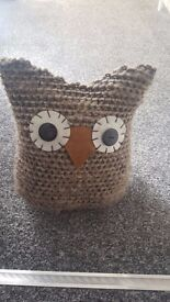 Brown owl doorstop with eyes, knitted material