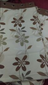 Curtains as pair beige with brown and green flowers