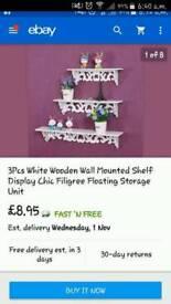 Brand new in box X3 white shelfs
