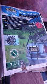 Bicycle carrier suitable for most makes of car, can carry up to 3 cycles