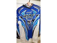wulfsport race shirt motocross motox quad youth junior cub age 11-13 blue