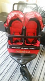 ******SOLD SOLD SOLD SOLD*******Out & About V4 Double Nipper Twin Buggy Excelleny Condition