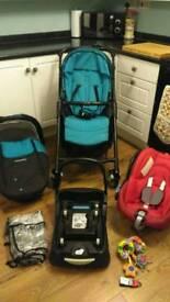 Maxi Cosi Streety full travel system, pram, pushchair, car seat, base etc