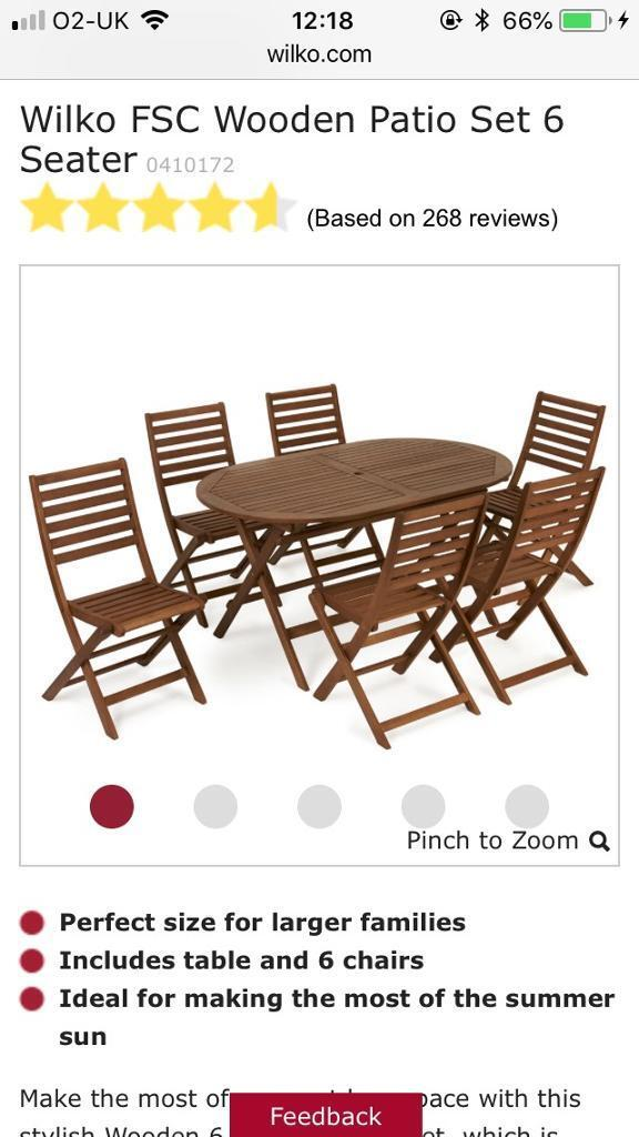 Wilko Brand New 6 Seater Patio Furniture Outdoor Table Chairs