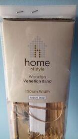 Natural Wood 25mm Venetian Blind - 120cm