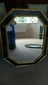 Stunning statement royal blue & gold good quality bevelled mirror