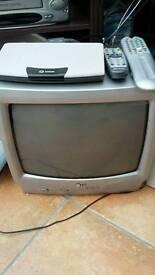 """LG 14"""" Portable TV together with sagem set-top box"""