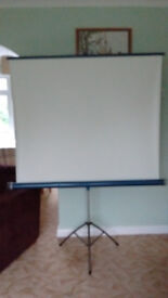 Screen for movie projection. Undamaged,clean, adjustable. 125 x 125 cm. White matte.Boxed