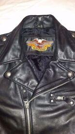 HARLEY DAVIDSON LEATHER BIKER JACKET LARGE SCREAMIN EAGLE EMBOSSED MOTORCYCLE L 079 999 65138