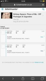 Britney Spears VIP Tickets Block A2!! X2