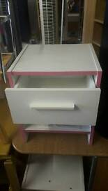 New Pink and White bedside Drawer Unit