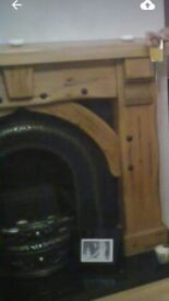 Chunky fireplace, cast iron inset & grate & black granite hearth. Immaculate condition, like new