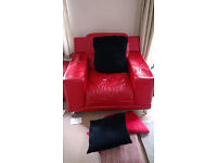 Red Leather 2 Seater Sofa and Armchair. Orpington.