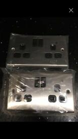 Two brushed steel plug sockets brand new