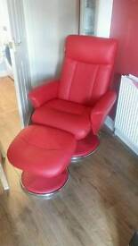 modern red faux leather Recliner swivel chairs with footstools