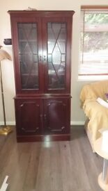 Wall cabinet with glass door with light