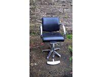 Vintage Chrome & Black Vinyl Barber's Swivel Chair