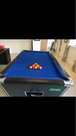 supreme 7x4ft pool table- royal blue cloth with black frame and chrome