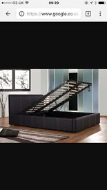 Faux leather brown double storage bed