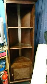 Dark wood corner unit with cupboard for sale