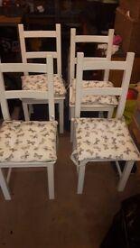 4 x White wooden kitchen chairs