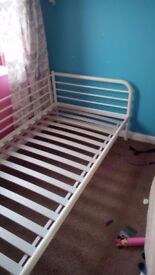 Cream metal single bed
