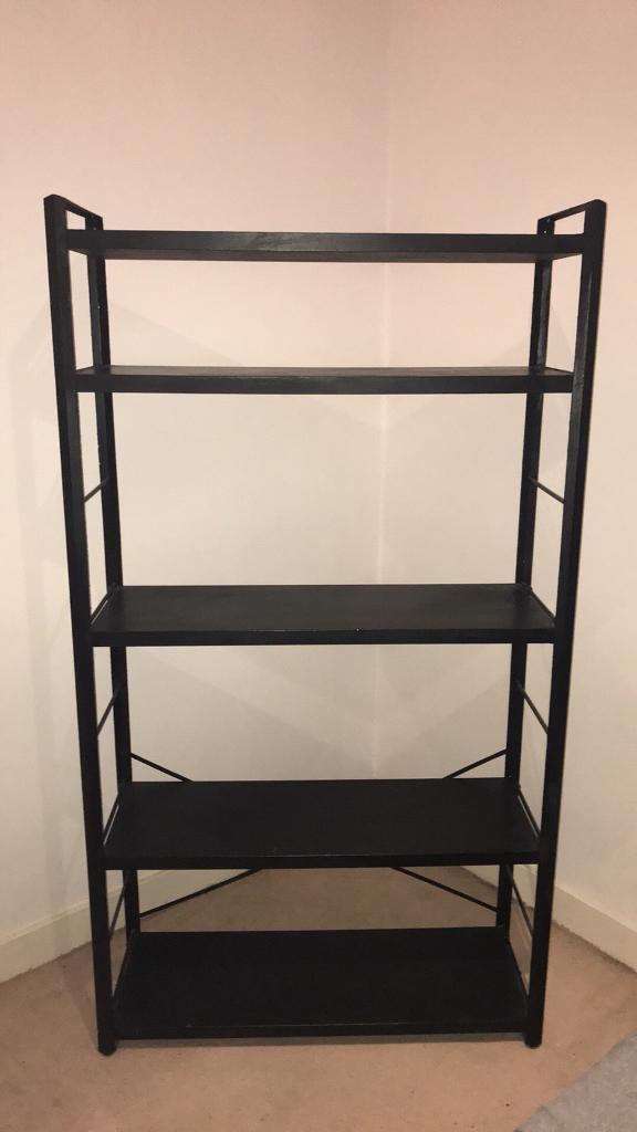 Black shelving unit. Metal frame with wooden shelves | in Manchester ...