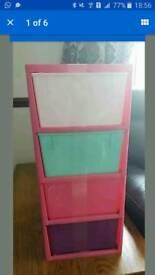 x2 Dunelm kids Girls Pink 4 Drawers Tower Plastic Storage Drawers solutions
