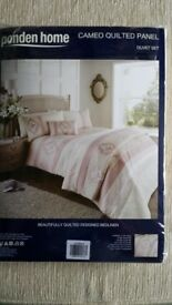 Ponden home cameo quilted panel duvet set