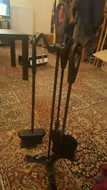 Cast iron Wood fire fork brush and pan