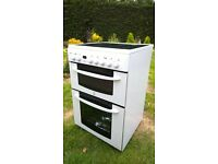 Freestanding indesit double oven with ceramic hob