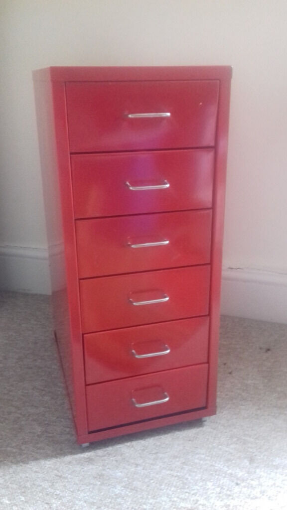 Ikea Red Metal Storage Cabinet Six Drawers 25 Price Drop