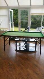 6 x 3 snooker table, 2 cues, triangle and full set of balls
