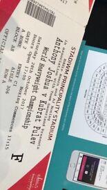 Front Row Floor Seats ANTHONY JOSHUA VS CARLOS TAKAM Boxing Tickets - 28.10.2017 *BELOW FACE VALUE*