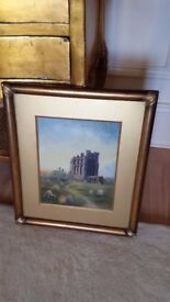 antique oil painting of Tynemouth priory