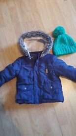 F&F Navy Coat with Fur Trimmed Hood (18-24m) and Green Hat from Next (1-2 yrs)