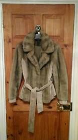 Faux fur and suede effect jacket size 14