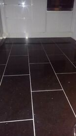 Black quartz floor tiles