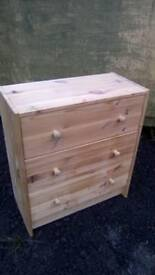 Small solid pine three drawer chest