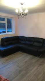 Corner genuine leather sofa
