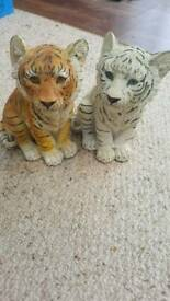Orange and white tiger ornaments