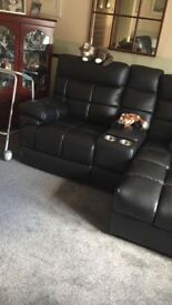 Harvey's Black Leather Sofa & 2 Electric Recliners