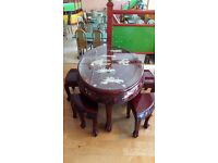 Authentic Chinese coffee table with Mother of Pearl + 6 stools