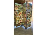 Antique, 3 sided folding changing screen, one of a kind item, added artwork through the years