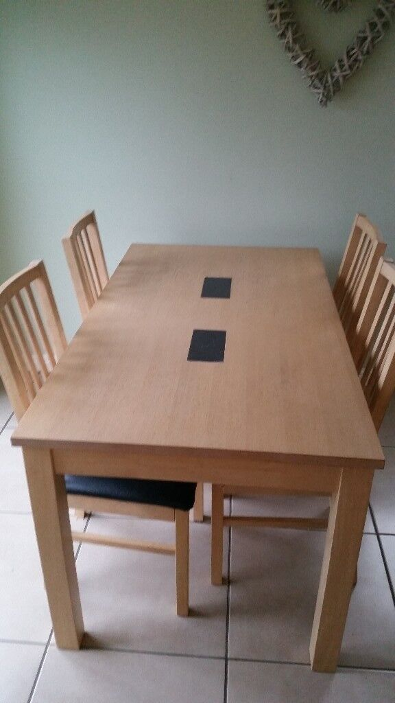 Lime Wood Dining Table And 4 Chairs