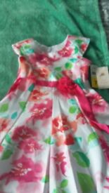 Girls pink floral party dress age 7